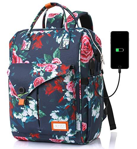 Rucksack Damen, Schulrucksack Mädchen Teenager mit USB Ladeanschluss, Daypack mit 12-16 Zoll Laptopfach & Anti Diebstahl Tasche