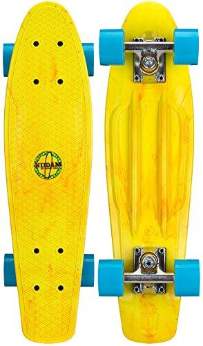 Nijdam Splash plastic skateboard, geel/blauw, één maat/22,5 inch