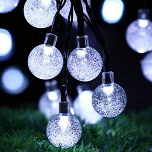ソーラー屋外ストリングライト CoolTime9メートル50 LEDクリスタルグローブライト 防水フェアリーストリングライトクリスマスハロウィンガーデン庭ウェディングパーティーのためのソーラー屋外ストリングライト (ホワイト)