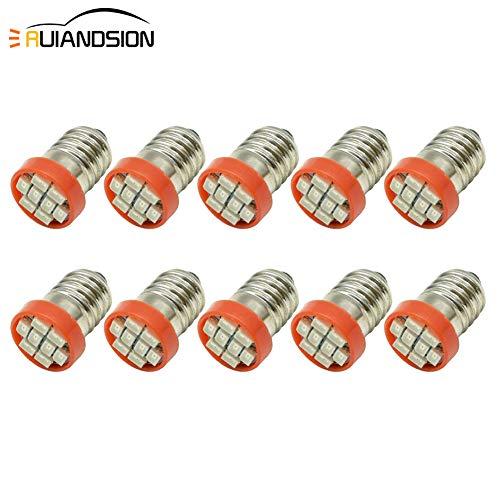 Ruiandsion Lot de 10 ampoules LED E10 0,5 W 12 V 24 V 1210 8SMD Chipsets de remplacement pour lampes de poche, lampes de poche, lampes de poche, rouge