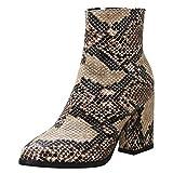 Lydee Mujer Moda Botines Tacon Ancho Cremallera Booties Dedo del pie Cerrado Partido Tacones Zapatos Animal Print Snake SenZon Talla 32