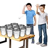 Gamie Bucket Ping Pong Ball Game Includes 9 Metal Buckets, 12 Balls, and 1 Number Sticker Sheet - Fun Party...