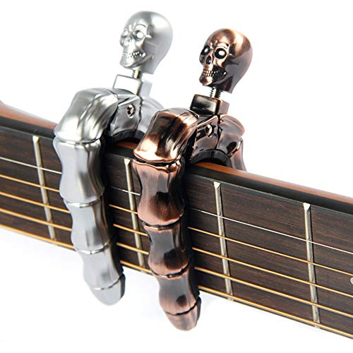YUEKO Guitar Capo Skull Knob Design Universal 4 5 6 12 Strings Instrument Capos for Electric Classical Acoustic Guitar Bass Ukulele Mandolin Banjo and More(Silver)