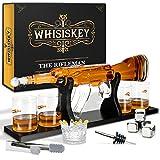 Whisiskey® Whisky Karaffe - Gewehr - Whiskey Karaffe Set - 1000 ML - Geschenke für Männer - Inkl. 4 Whisky Steine, Ausgießer & 4 Whisky Gläser