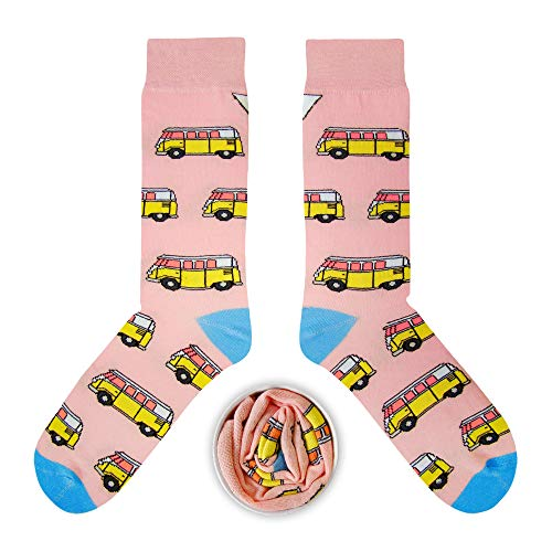 CUP OF SOX Herren Damen Lustige Socken mit Bulli in der Pappbecher - Gemusterte Bunte Geschenk Socken für VW Bus T1 Liebhaber - Socken aus hochwertige Baumwolle (Rosa, 37-40)