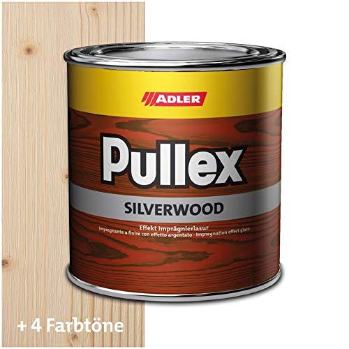 ADLER Pullex Silverwood - Effekt Imprägnierlasur & Holz Grundierung - Farbige Holzlasur Außen als effektiver Wetterschutz mit speziellen Metalleffektcharakter - Holzschutzlasur Farbe: farblos 750 ml