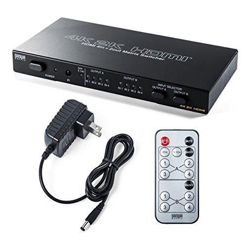 サンワダイレクト HDMI切替器 マトリックス 4K / 30Hz対応 4入力2出力 リモコン付き 光 同軸デジタル 出力付き 400-SW027
