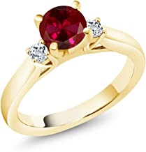 Gem Stone King 1.28 Ct Round Red Created Ruby White Topaz 18K Yellow Gold Plated Silver Engagement Ring