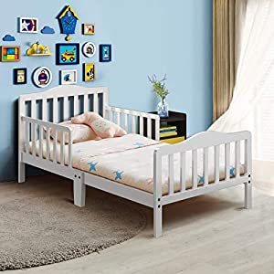 Costzon Toddler Bed, Classic Design Rubber Wood Kids Bed w/Double Safety Guardrail for Children Bedroom Furniture, Kids Room, Parent Room, Fits Crib Mattress, Gift for Toddler Boys & Girls, White