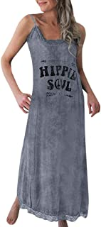 NANTE Top Loose Women's Dress Hippie Soul Print Long Dresses Sleeveless Length Skirt Tank Tops Ladies Gown O-Neck Sundress