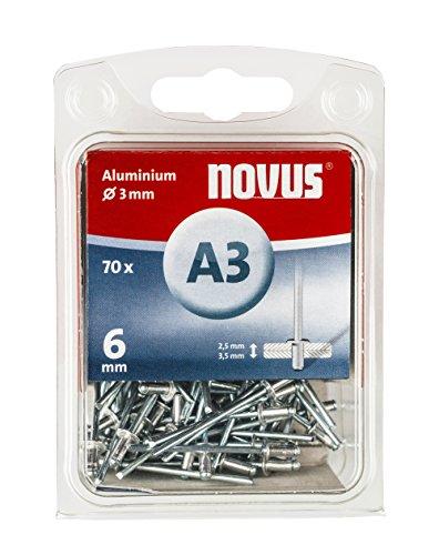 Novus Aluminium Blindnieten 6 mm, 70 Nieten, Ø 3 mm, 2.5-3.5 mm Klemmlänge, zur Befestigung von Stoffen und Leder