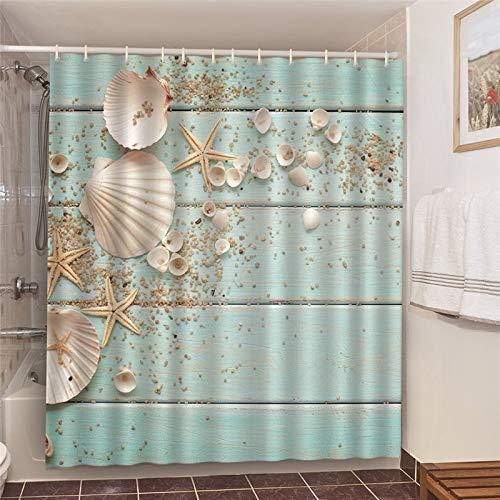 XCBN Hamaca de Playa Palmera Paisaje Junto al mar Decoración de baño Cortinas de baño Cortinas de Ducha Impermeables A25 150x180cm