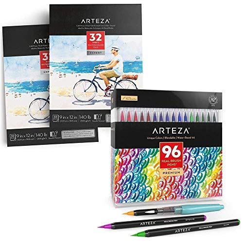 Arteza Real Brush Pens and Expert Watercolor Pads Bundle, Drawing Art Supplies for Artist, Hobby Painters & Beginners