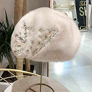 Winter Ladies New Warm Whole Suede Water Mane Hat Soft Body Ear Beret Nail Beads Rhinestone Elegant Gray