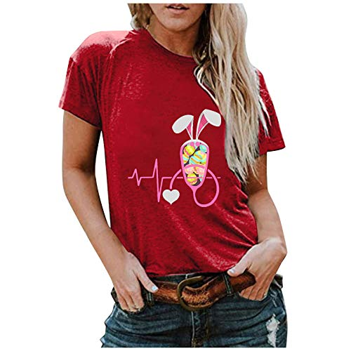 Camiseta de Manga Corta para Mujer Camiseta para Mujer Camiseta con Estampado de Conejo de Cuello Redondo Camiseta Holgada Informal de Manga Corta de Pascua