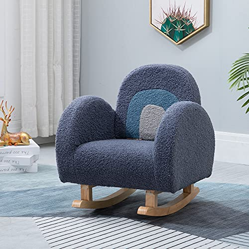Kids Rocking Chair, Wooden Rocker Chair with Fluffy Cover for Boys Girls, Toddler Armchair with Foldable Backrest Children Sofa for Bedroom Living Room, Children's Furniture Gift for Ages 2-8, Blue