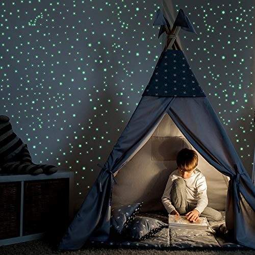 835 Pieces Realistic 3D Starry Sky Stickers Glow in The Dark Stars Wall Decals Set Include 633...