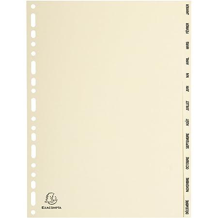 Exacompta - Réf. 1212E - Intercalaires en Carte ivoire 155g/m2 FSC® avec 12 onglets imprimés mensuel de Janvier à Décembre - Format à classer A4 - Dimensions 22,5 x 29,7 cm - couleur ivoire