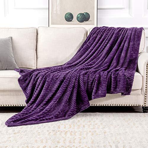 MIULEE Kuscheldecke Fleecedecke Flanell Decke Einfarbig Wohndecken Couchdecke Flauschig Überwurf Mikrofaser Tagesdecke Sofadecke Blanket Für Bett Sofa Schlafzimmer Büro 60x80Inch 153x203cm Lila