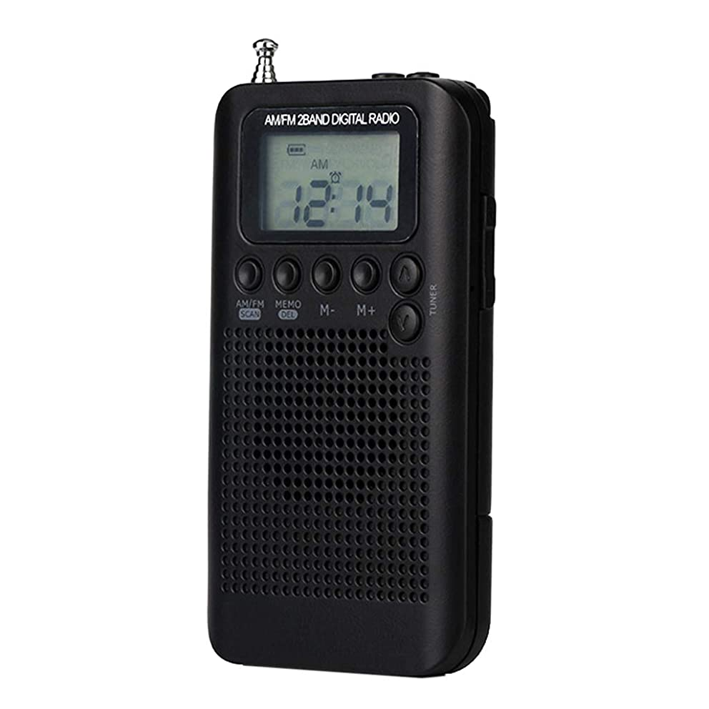 SM SunniMix Pocket FM/AM Digital Tuning Radio Receiver with Rechargeable Battery & Earphone Black