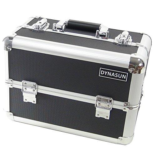 DYNASUN BS37 37x23x25cm XXL Schwarz/Silver Designer Profi Beautycase Schminkkoffer Kosmetikkoffer Schmuckfach Beauty Case Reise Box