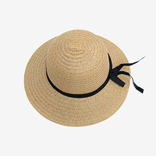 UKKD Sombrero Playa Mujer Moda De Verano Gorras De Paja Tejidas para Mujeres Gorras Grandes Sombreros Anchos Alumnos Colores Protección 4 Sol Playa UV Damas Arco Al Aire Libre