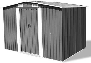 vidaXL Garden Storage Shed Grey Metal with 4 Vents Outdoor Organiser Cabin