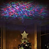 EAMBRITE 9' Hollow Gold Star Christmas Tree Topper with Rotating Magic Ripple Projector for Crown Xmas Tree Topper Decoration