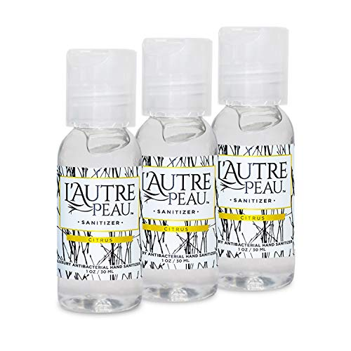 Hand Sanitizer Gel with Aloe Vera & Vitamin E Made in USA by L'Autre PEAU - Citrus Scented Alcohol Based Liquid Instant Hand Cleaner (1oz 3 Pack)