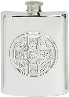 Stylish Slimline 6oz Square Polished Pewter Handcast Bottle Pocket Hip Flask Featuring Celtic Cross Insert