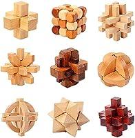 教育玩具、IQ、Kingming Lock、Luban Lock、3D木製インターロックグリッチパズル、アダルトゲームおもちゃ (6個)