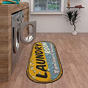 Ottomanson Laundry Collection Area Rug, 20″X59″ Oval, Yellow-Blue Bubbles, Model Number: