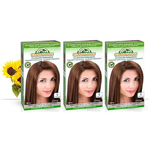 Corpore Sano Pack x3 Unidades Tinte Castaño Claro 5 Permanente 140ml - Tinte de coloración sin amoníaco, resorcinol ni parabenos. Los champús naturales de Henna poténcia la durabilidad del color