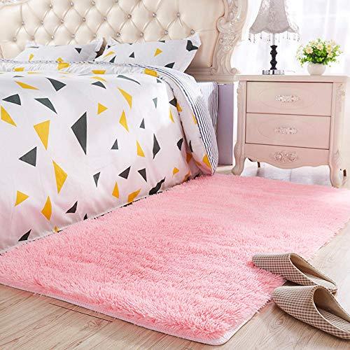 LAMEDER Ultra Soft Modern Area Rug,Roze langharige winter dikke slaapkamer nachtkastje tapijt, delicaat, dicht bij de huid, geen haaruitval, geen vervagen, 160 × 200cm