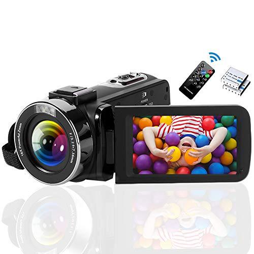 Videokamera Camcorder 2.7K 42MP Videokamera 18X Zoom Camcorder Full HD mit Drehbarem 3,0-Zoll-Bildschirm Videokamera für YouTube Fernbedienung, Webcam