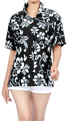 LA LEELA Encubrir Ropa de Playa Camisa de Vestir Blusa de la Parte Superior del BOT�n Hawaiano Abajo Cortas Mangas XL Halloween Negro_W908