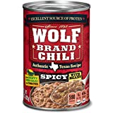 Includes 12 units of 15-ounce can of WOLF BRAND Spicy Chili With Beans Ground beef and pork seasoned with zesty green chilies, ripe tomatoes and a savory blend of seasonings for extra heat Heat up easily on the stovetop or in the microwave and enjoy ...