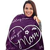 I Love You Mom Blanket - Gifts for Mom or New Moms to Be | Super Soft Fleece Throw | Mom Gifts from Daughter or Son for Her Birthday, Mothers Day, or Christmas - 50' x 65' (Purple)