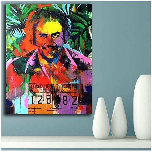 sjkkad Nieuwe Pablo Escobar canvas schilderij voor woonkamer Home Decoration schilderij op canvas muurschildering muurkunst -60x80cm No Frame