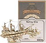 hsj Rompecabezas de madera 3D, kit de construcción de modelo de barco de vela de bricolaje, regalo creativo para niños y adultos exquisita mano de obra (color: barco de vela)