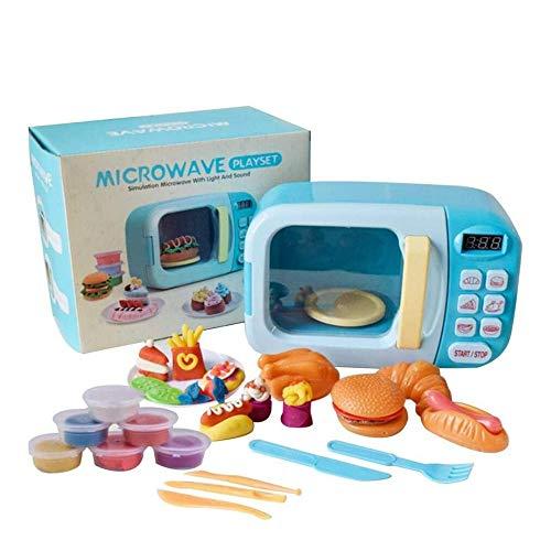 Angelay-Tian Küche spielsets Kinder Jungen und mädchen Spielen Haus elektrische rotierende mikrowellenofen Simulation ofen Spielzeug küchenware Set (Color : A)