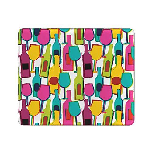 Yeuss Tela de vino por alfombrilla de ratón, estilo dibujado a mano botellas de vino coloridas y gafas Bar fiesta alcohol bebidas tema juego mouse