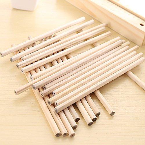 HB Bleistifte Set aus Natürlichem Grundleder Holz Graphit Hexagon für Zeichnung Schreib Büro Bürobedarf (30 Stück)