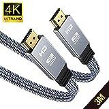 3Meter HDMI 4K@60HZ Flach Kabel, Snowkids HDMI 2.0 Kabel Highspeed 18Gbps HDCP 2.2 Nylon Geflochten...