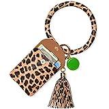 Keychain Bracelet Leather Wristlet, takyu Womens Bangle Wrist Key Ring Wallet with Card Holder and Tassel (Leopard)
