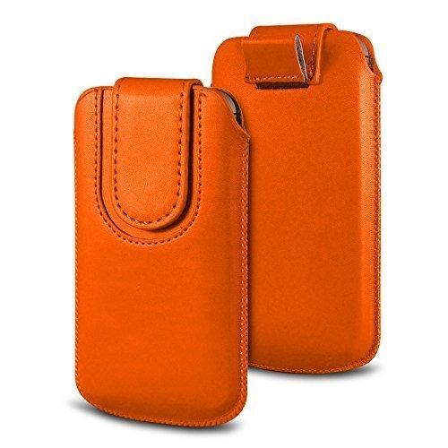 N4U Online Various Farbig Magnetisch PU Leder Zug Kippen Tab Schutzhüllen Tasche für Doogee F3 Pro - Orange