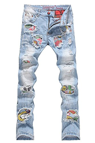 Denim Men's Patchwork Hole Ripped Jeans Size 36 Blue