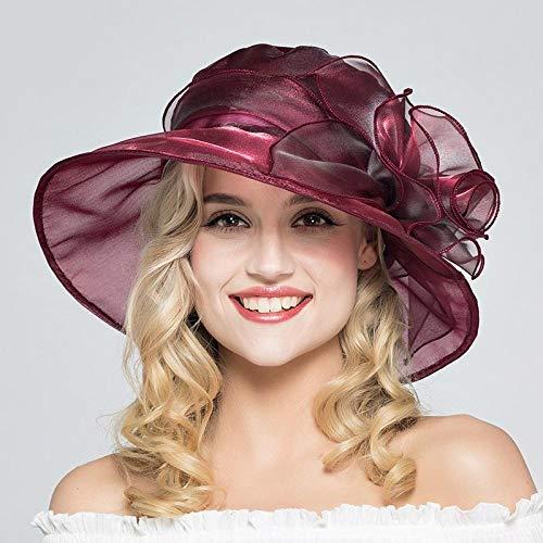wosnyy Sonnenhut Lady Sonnenhut Sonnenschutz UV-Schutz Frühling und Sommer Cooler Hut Farbe Gaze Hut Strandhut-_C