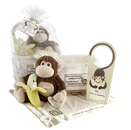 Baby Aspen, Five Little Monkeys, Baby Shower Gift Set with Keepsake Basket