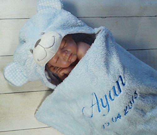 Zweilagige Babydecke mit Namen und Datum bestickt - Wagendecke - 3D Motiven - (Blau Teddybär) (302023)